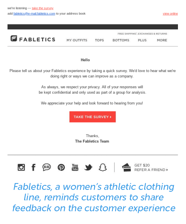 Fabletics reminds customers to share feedback on the customer experience.