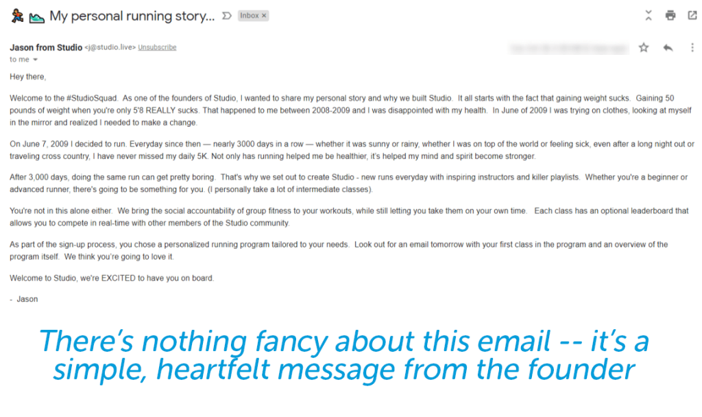 Studio personal email from CEO