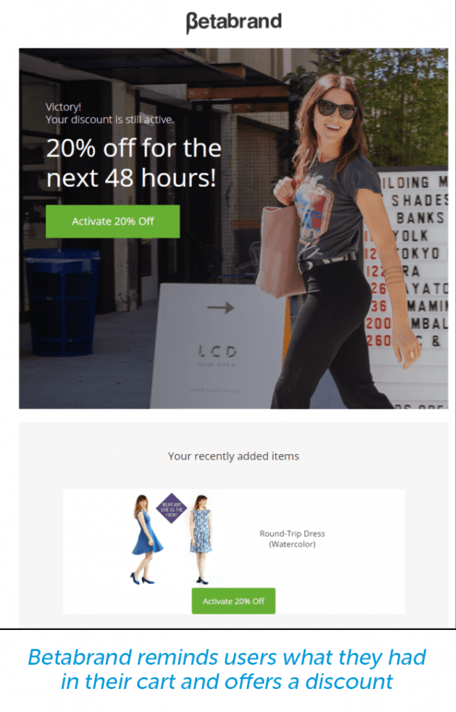 cart reminder email with discount from Betabrand