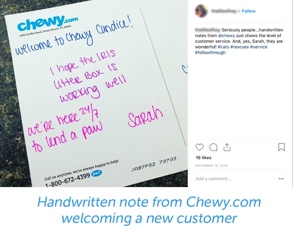 Handwritten note from Chewy welcoming a new customer