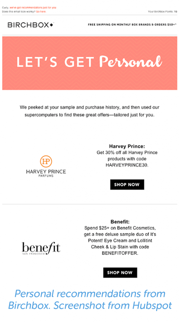 Personal recommendations from Birchbox