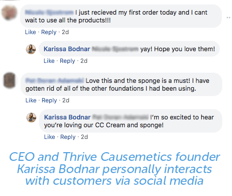 Thrive Causemetics founder personally interacts with customers via social media