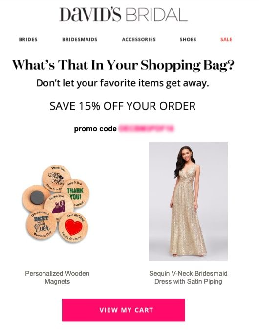 Cart abandonment email from Davids Bridal