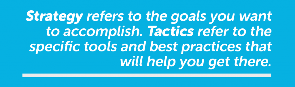 Strategy refers to the goals you are trying to accomplish while tactics are the tools and best practices you use to get there.