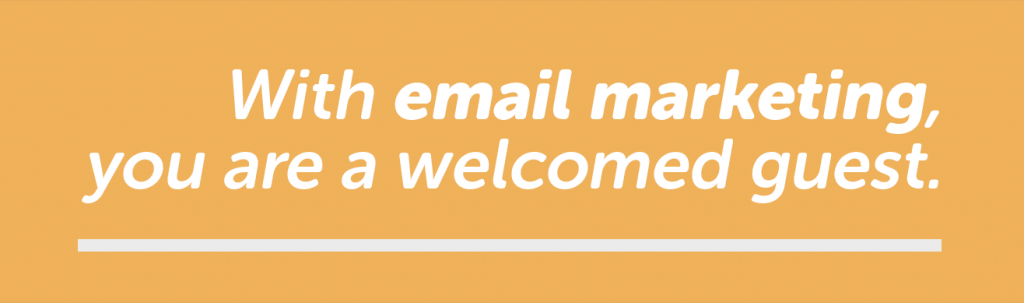 With email marketing, the goal is to make your visitor feel like a welcomed guest.