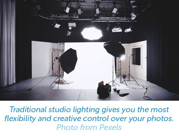 Traditional studio lighting gives you the most flexibility and creative control over your photos.