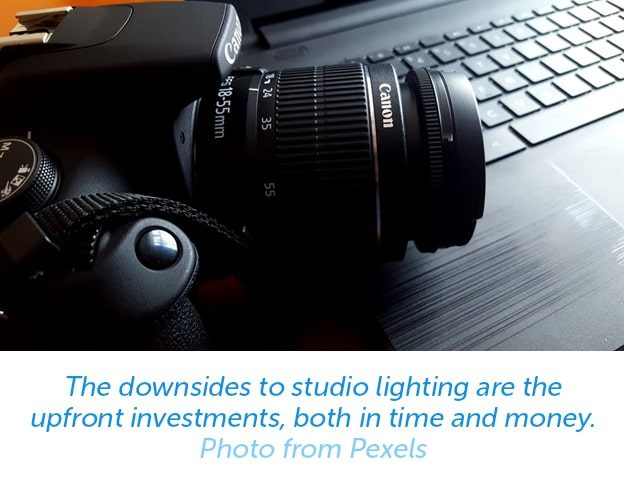 The downsides to studio lighting are the upfront investments, both in time and money.