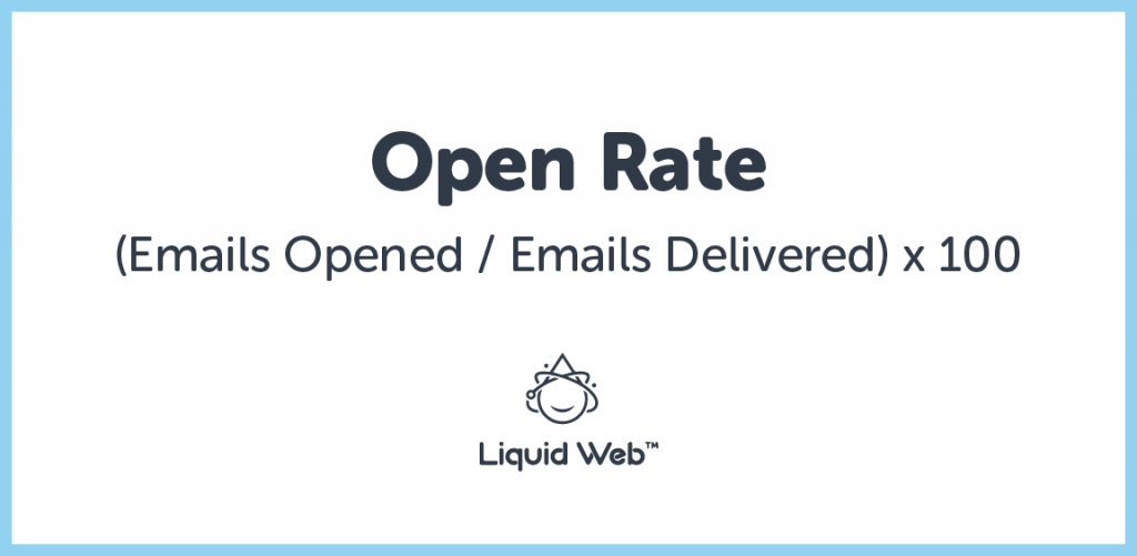 Open rate is the number of emails opened compared to the total amount delivered.