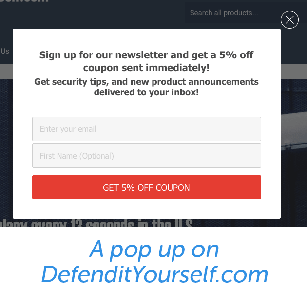 Here is a sample popup with an offer on DefentitYourself.com.