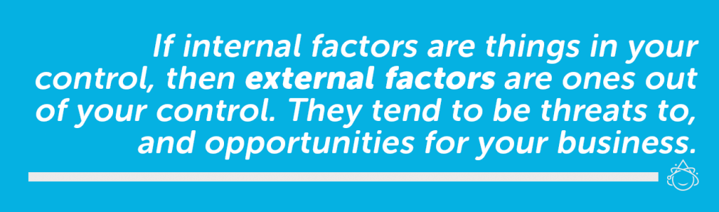External factors are outside your control, like competition, regulation, and trends.