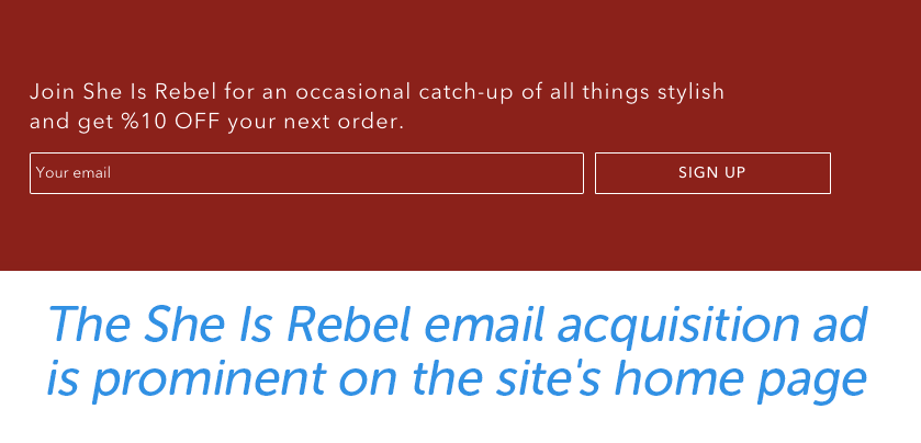 The She Is Rebel email acquisition ad is prominent on the site's home page.