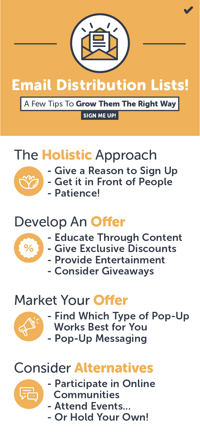 Grow your email distribution list with these four steps.