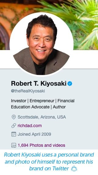Robert Kiyosaki's Twitter profile uses a personal photo to represent his business on Twitter.