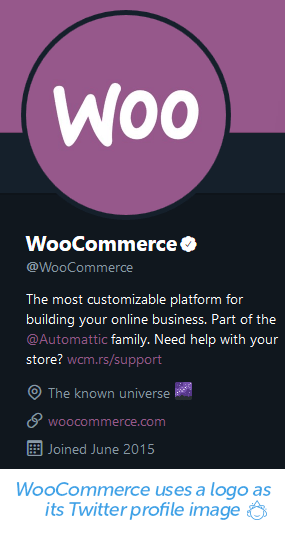 WooCommerce uses a logo as its Twitter profile image.