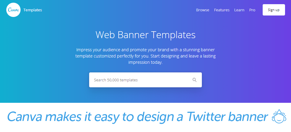 Canva makes it easy to design a Twitter banner.