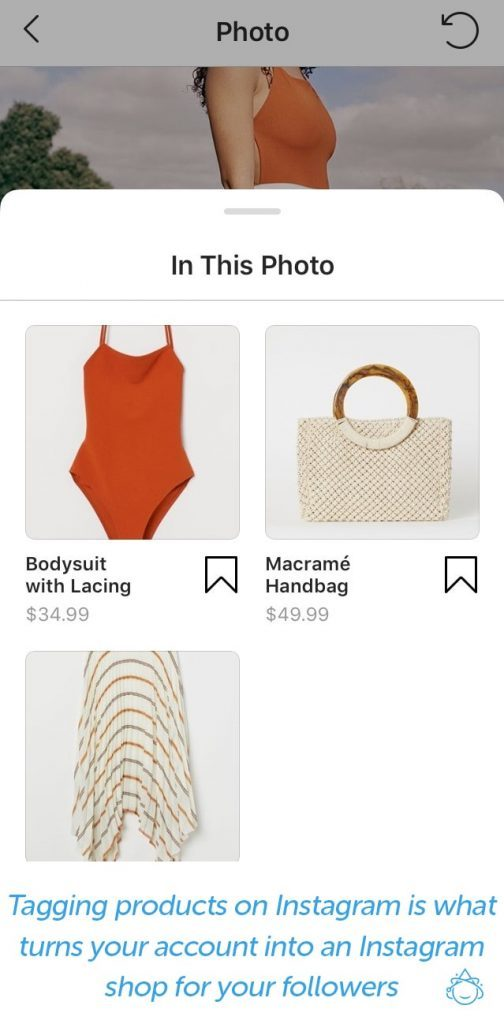 Image of a women's swimsuit and the corresponding tagged products.