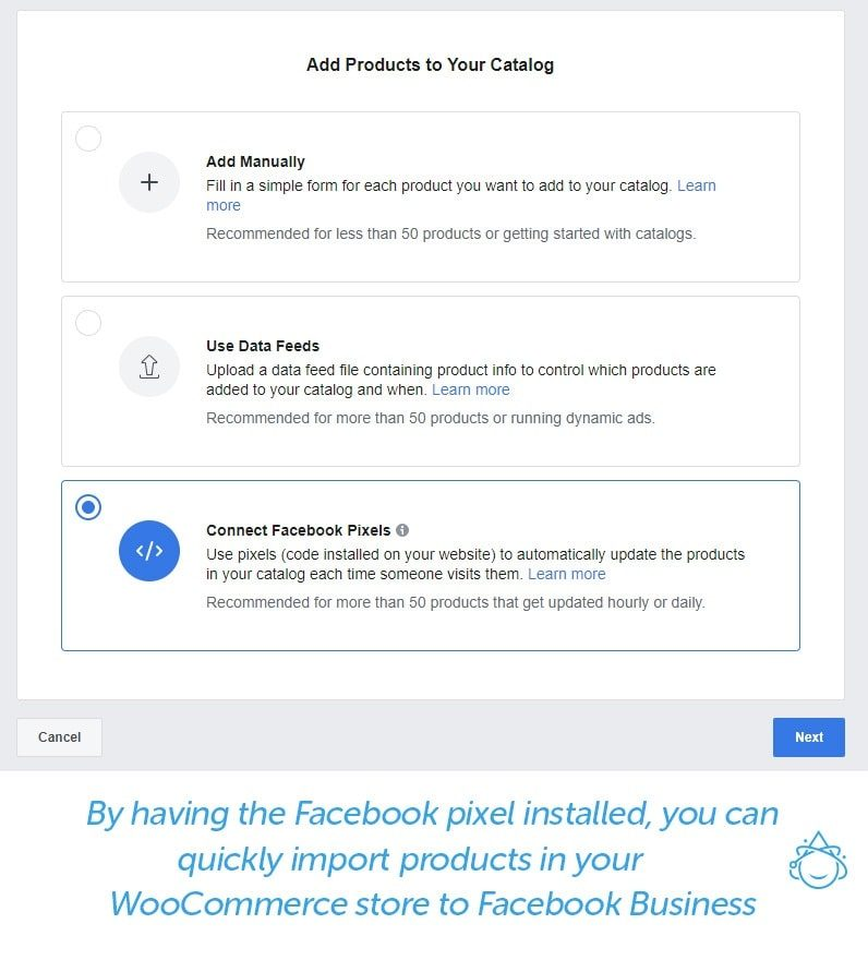 By having the Facebook pixel installed, you can quickly import products in your WooCommerce store to Facebook business.