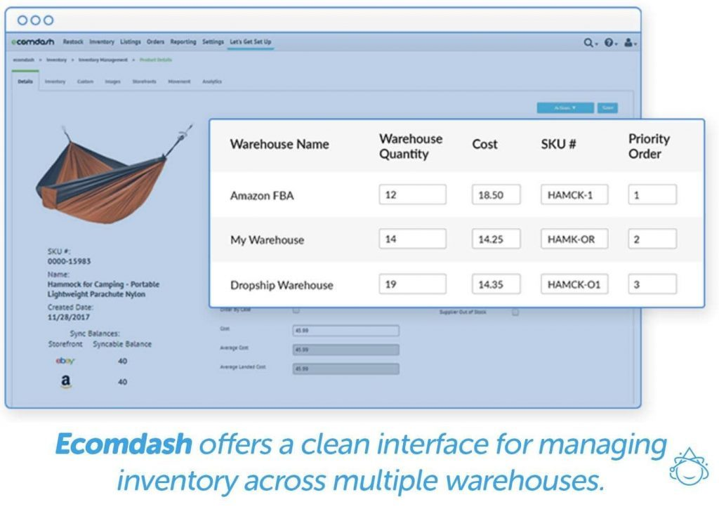 Ecomdash offers a clean interface for managing inventory across multiple warehouses.