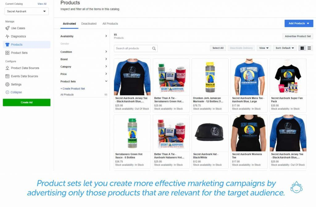 Product sets let you create more effective marketing campaigns by advertising only those products that are relevant for the target audience.