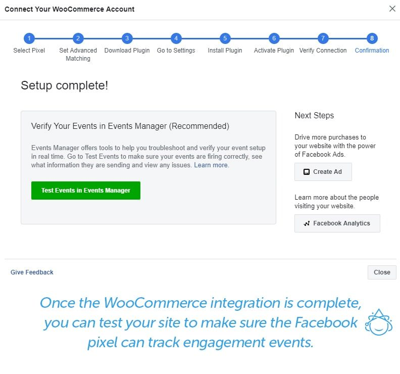 Once the WooCommerce integration is complete, you can test your site to make sure the Facebook pixel can track engagement events.