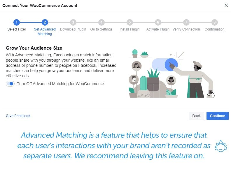 Step 2 - Advanced Matching is a feature that helps to ensure that each user's interactions with your brand aren't recorded as separate users. We recommend leaving this feature on.
