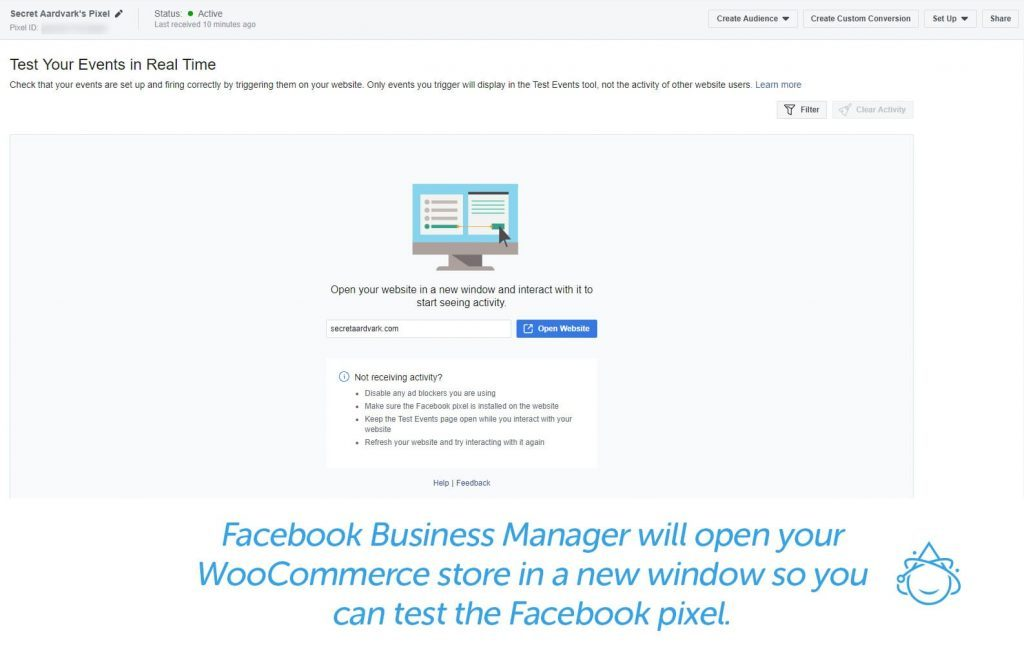 Facebook Business Manager will open your WooCommerce store in a new window so you can test the Facebook pixel.