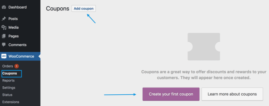Add coupon and configure settings