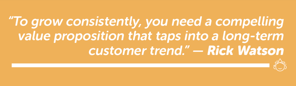 To grow consistently, you need a compelling value proposition that taps into a long-term customer trend.