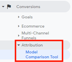 Selecting the Model Comparison Tool for Google attribution reporting