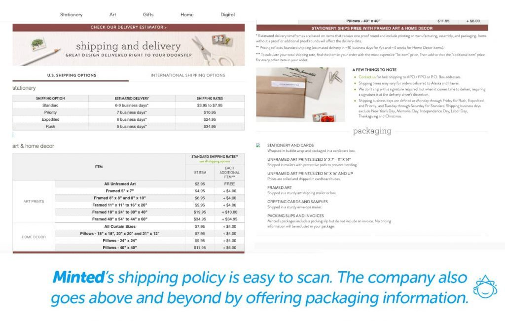 Minted's shipping policy is easy to scan. .