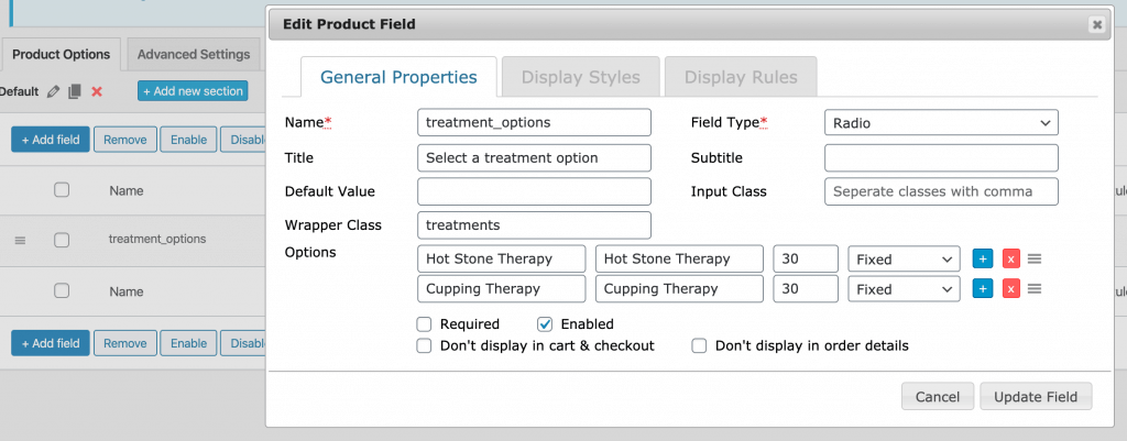 Editing a product field