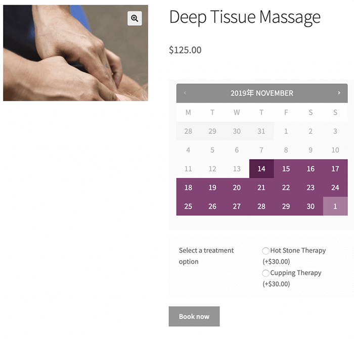 Deep tissue massage showing with addon and correct style using wrapper class
